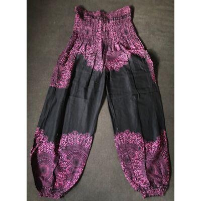 Hárem nadrág Thaiföldi bő fazonú fekete alapon rózsaszin Mandala mintázattal