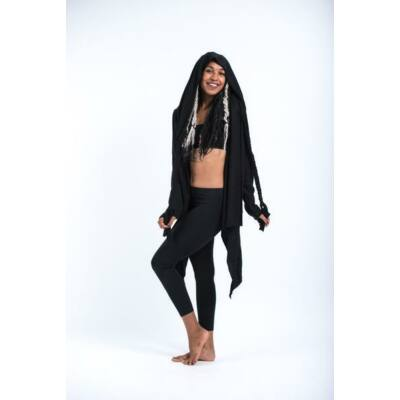 Sure Design vékony kapucnis kardigán fekete színben