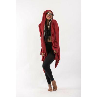 Sure Design vékony kapucnis kardigán piros színben