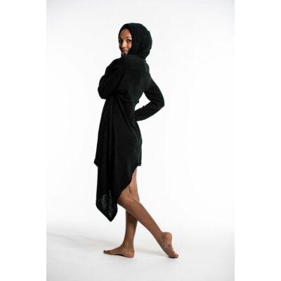 Sure Design gombbal záródó kapucnis ruha hosszított ujjal fekete színben