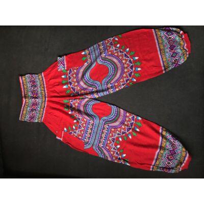 Hárem nadrág Thaiföldi bő fazonú piros alapon azték mintázattal