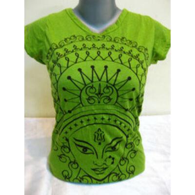 SURE DESIGN póló Durga mintázattal lime színben-S