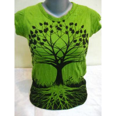 Női SURE DESIGN póló Életfa mintázattal lime színben-M és L