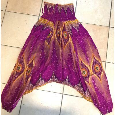 Buggyos Aladdin nadrág erős lila alapszínű mély ülepű szemek mintázattal