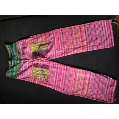 Hárem Indiai csíkos vászon nadrág rózsaszín-sárga színben zöld betéttel