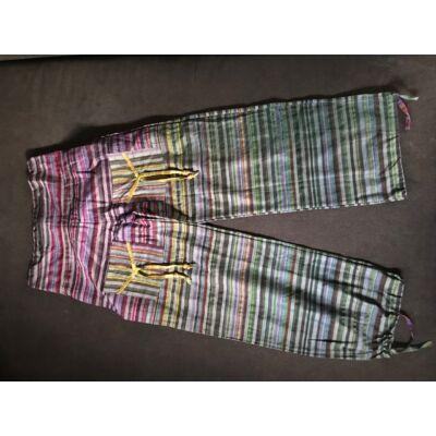 Hárem Indiai csíkos vászon nadrág lila-szürke-zöld-okkersárga színben