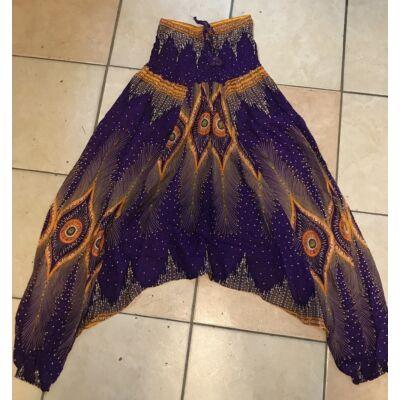 Buggyos Aladdin nadrág lila alapon mélyülepű narancssárga álomfogó mintázattal