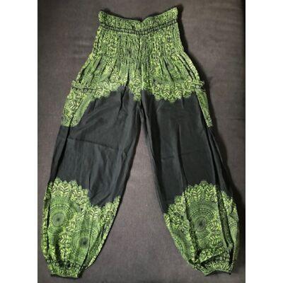 Hárem nadrág Thaiföldi bő fazonú fekete alapon zöld Mandala mintázattal