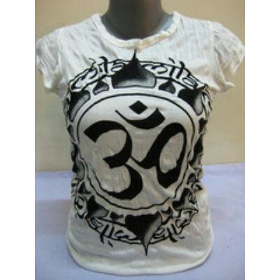 SURE DESIGN póló Om mintázattal fehér színben-S,XL