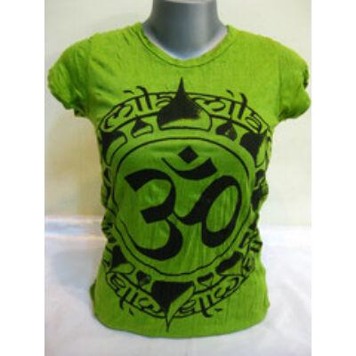 Női SURE DESIGN póló Om mintázattal lime színben-M