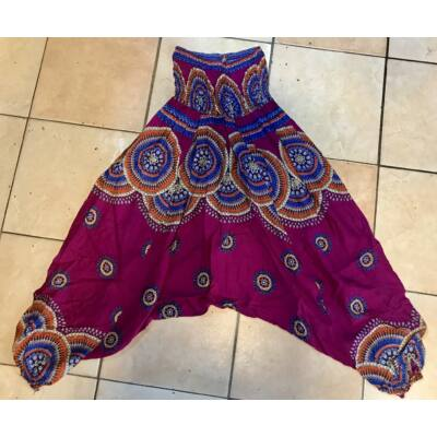 Buggyos Aladdin nadrág padlizsánlila alapszínű mély ülepű szemek és mandala mintázattal