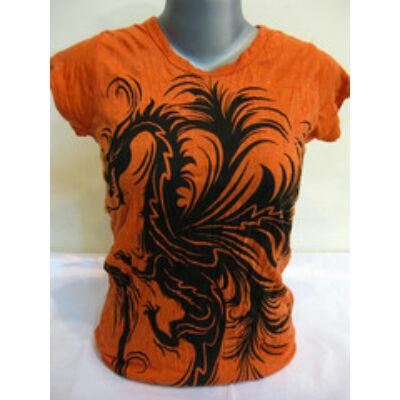 SURE DESIGN póló sárkány mintázattal narancs színben-S