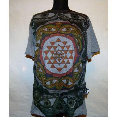 Unisex Sure Design póló száz szem mandala mintázattal szürke színben