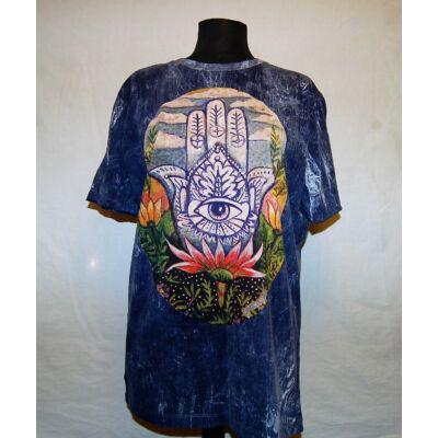 Unisex Sure Design póló színes mindent látó szem rajzolattal batikolt kék kőmosott színben