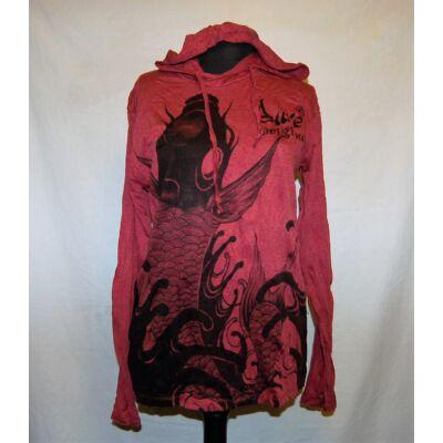 Sure Design unisex kapucnis póló hal mintázattal bordó színben