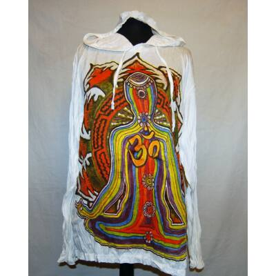 Sure Design unisex kapucnis póló színes meditáló ember mintázattal fehér színben