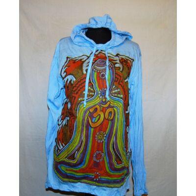 Sure Design unisex kapucnis póló  meditáló alak mintázattal világoskék színben