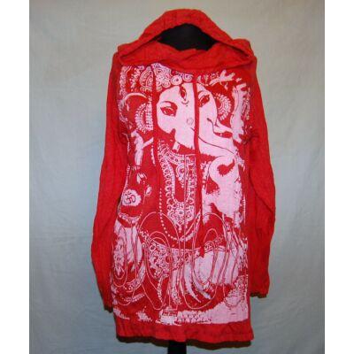 Sure Design unisex kapucnis póló Ganésha mintázattal piros színben