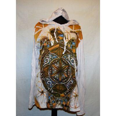Sure Design unisex kapucnis póló teknős mintázattal bézs színben