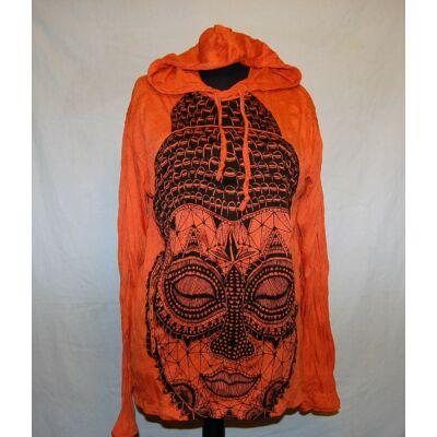 Sure Design unisex kapucnis póló Buddha mintázattal narancs színben
