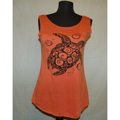 Sure Design bővülő fazonú trikó teknős rajzolattal narancs színben