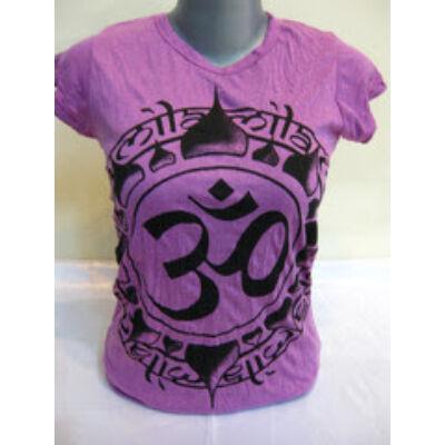 Női SURE DESIGN póló Om felirattal lila színben-M