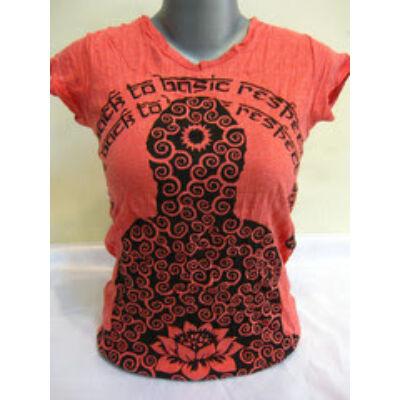 SURE DESIGN póló lótuszvirág mintázattal-piros színben-S