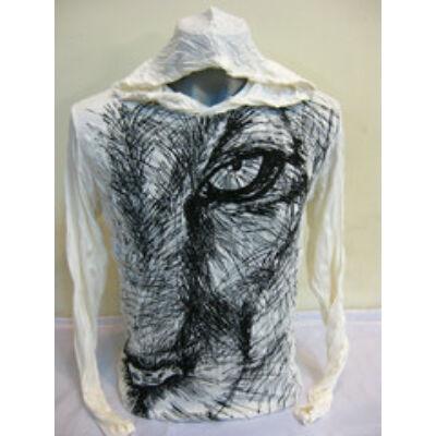 Sure Design unisex kapucnis póló oroszlánfej mintázattal fehér színben-M