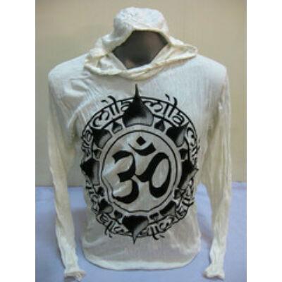 Sure Design unisex kapucnis póló Om mintázattal fehér színben-M