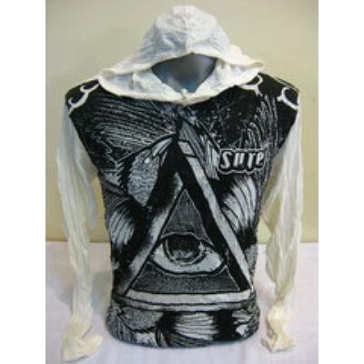 Sure Design unisex kapucnis póló szem az univerzumra mintázattal fehér színben-M