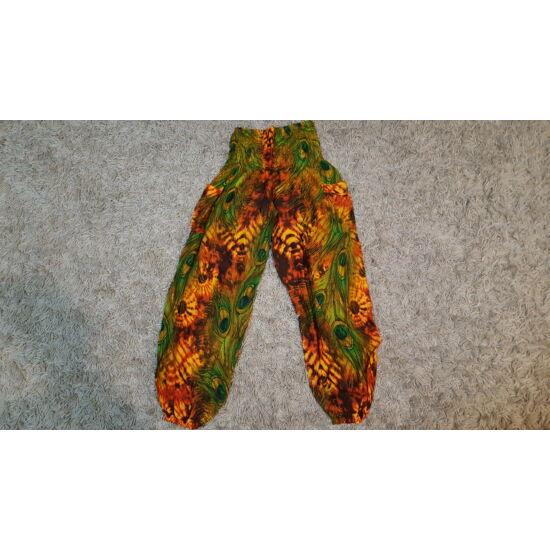 Hárem nadrág zöld-narancs bő fazonú pávatoll mintázattal