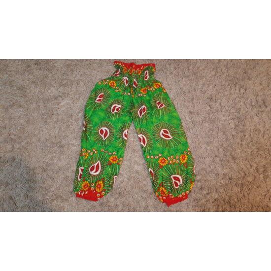 Világoszöld-piros buggyos nadrág csepp mintázattal