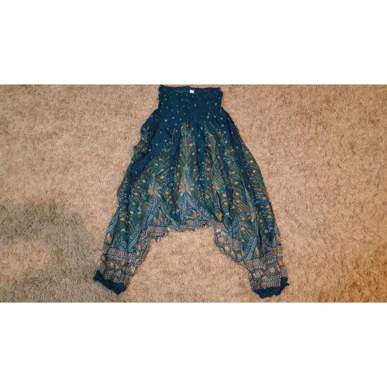 Zöld mély ülepű buggyos nadrág pávatollszerű mintával