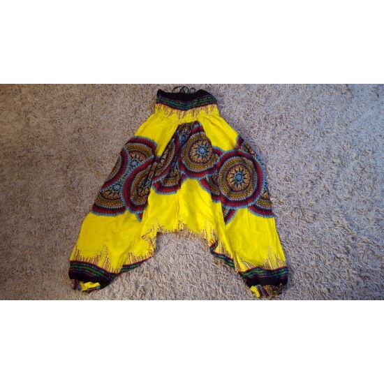Citromsárga mély ülepű buggyos aladdin nadrág mandala mintázattal