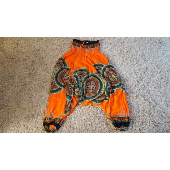 Narancssárga mély ülepű buggyos aladdin nadrág mandala mintázattal