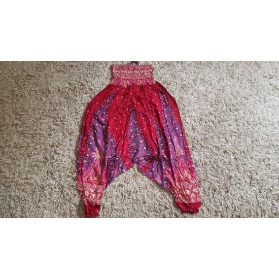 Bordó mély ülepű buggyos aladdin nadrág pávatoll mintázattal