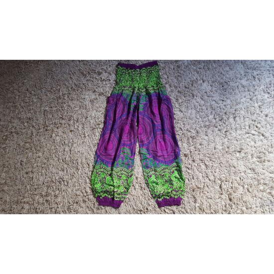 Hárem nadrág lila-világoszöld bő fazonú mandala mintázattal
