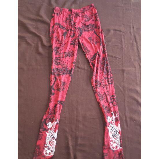 Hosszú legging piros-fekete csipke mintázat