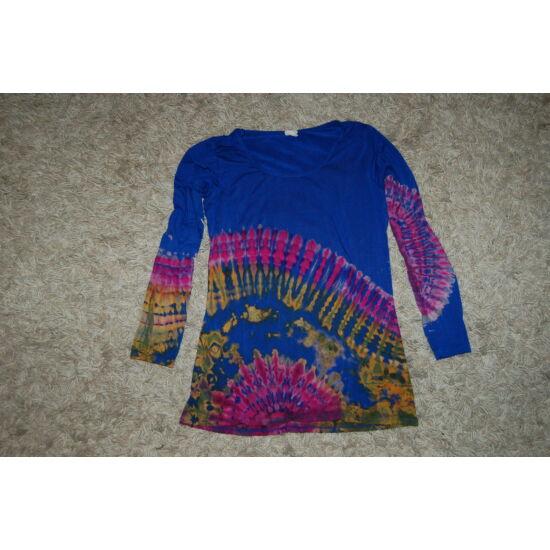 Női batikolt hosszú ujjú felső kék-sárga-rózsaszín minta