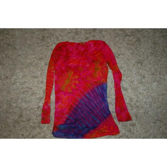 Női batikolt hosszú ujjú felső piros-zöld-lila-kék mintával