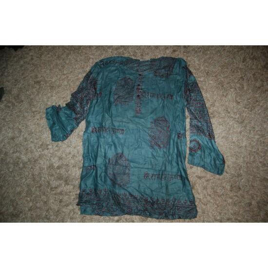 Könnyű nyári ing világoskék színben mantra mintázattal