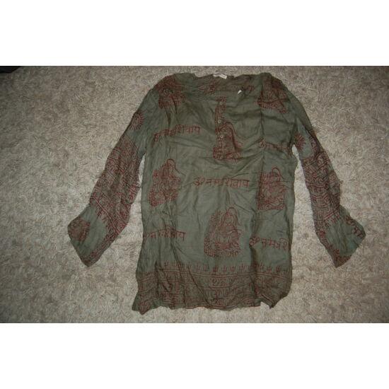 Könnyű nyári ing sötétzöld színben mantra mintázattal