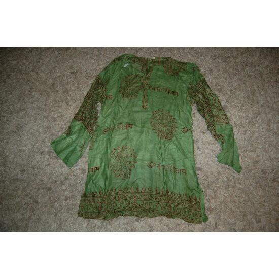 Könnyű nyári ing zöld színben mantra mintázattal