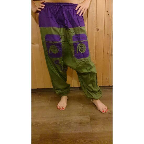 Indiai buggyos nadrág lila-zöld színben