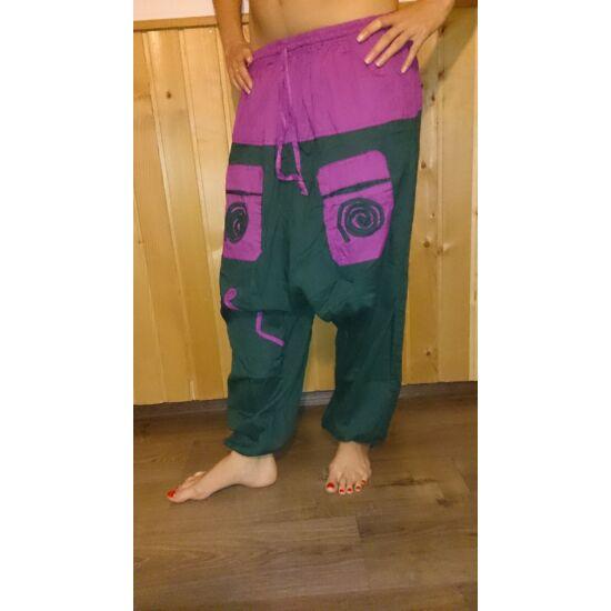Indiai buggyos nadrág zöld-lila színben
