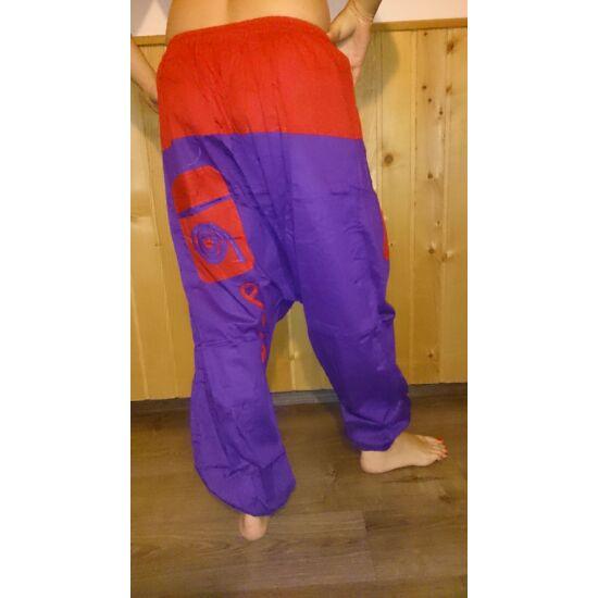 Indiai buggyos nadrág lila-piros színben