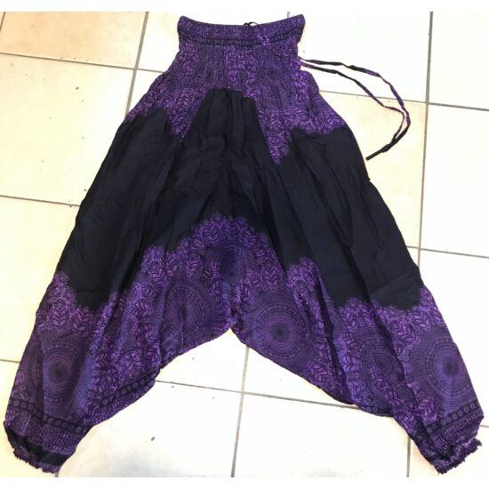 Buggyos Aladdin nadrág fekete alapon lila Mandala mintázattal