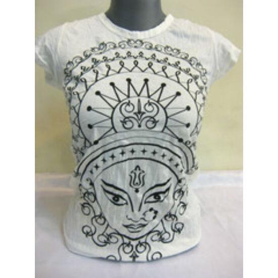 SURE DESIGN póló Durga mintázattal fehér színben-S