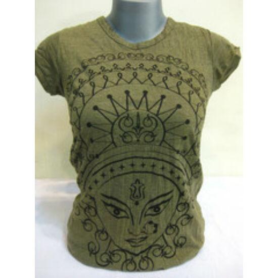 SURE DESIGN póló Durga mintázattal keki színben-S