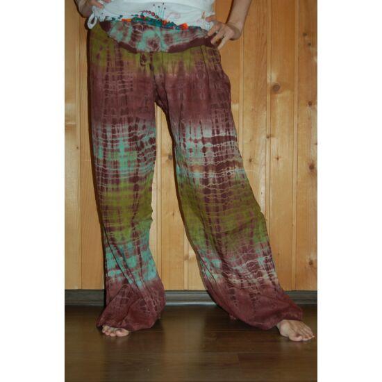 Hippi nadrág barna-zöld színben
